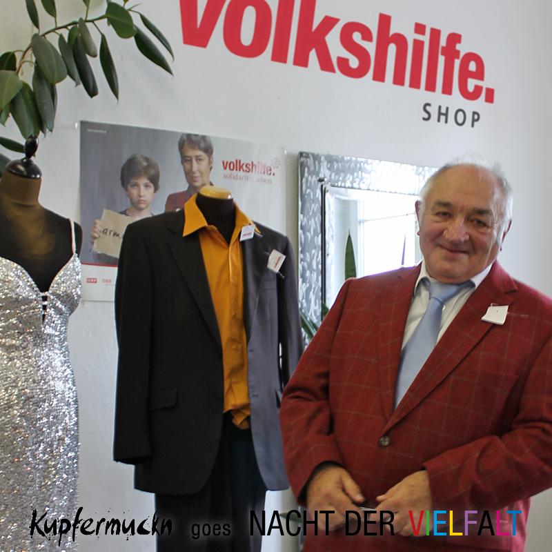 Kupfermuckn-Einkleidung im Volkshilfe Shop
