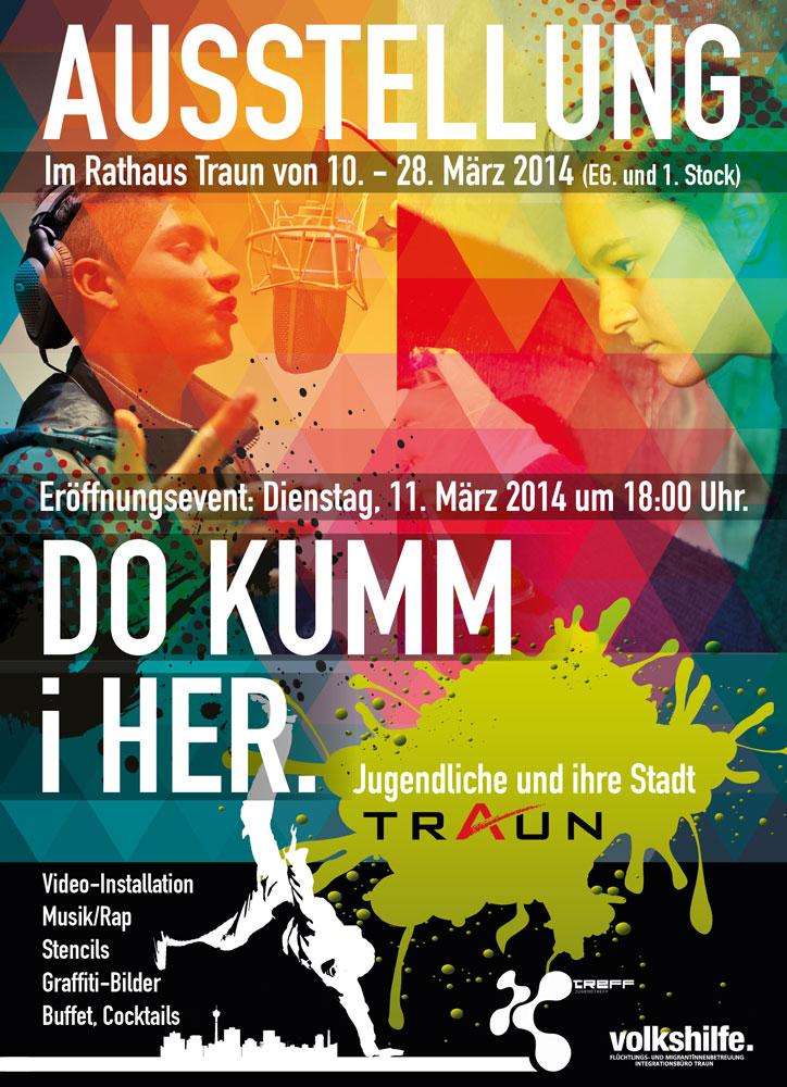 Flyer zur Ausstellung Do kumm i her